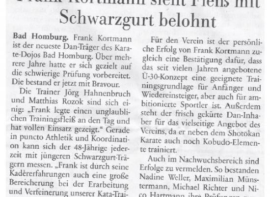 Neuer Dan-Träger: Frank Kortmann